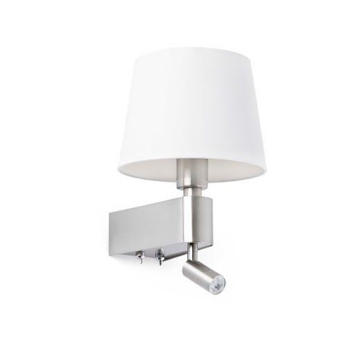 Faro Room 29976 Aplique 2L LED niquel mate y pantalla blanco
